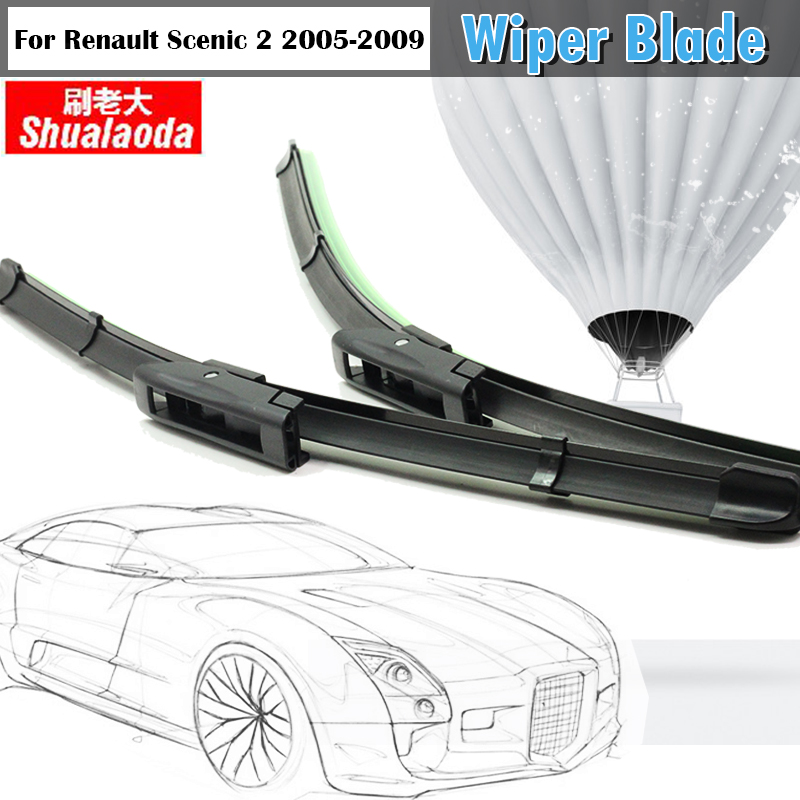 For 2005-2009 Renault Scenic 2 Car Window Windshield Automotive Soft Rubber Bracketless Wiper Blades 2Pcs(China (Mainland))