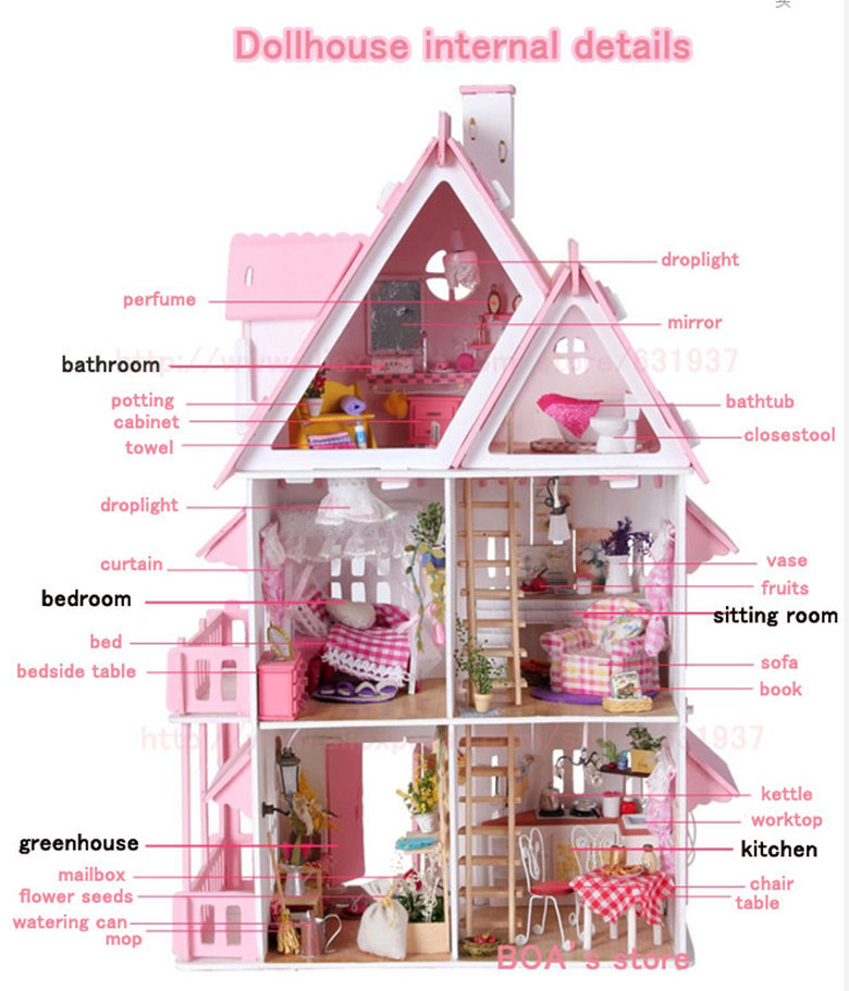Top Gift choice! DIY Wood Doll House Sunshine Alice Unique large villa Toy Furniture Handmade 3D Miniature Dollhouse Toys(China (Mainland))