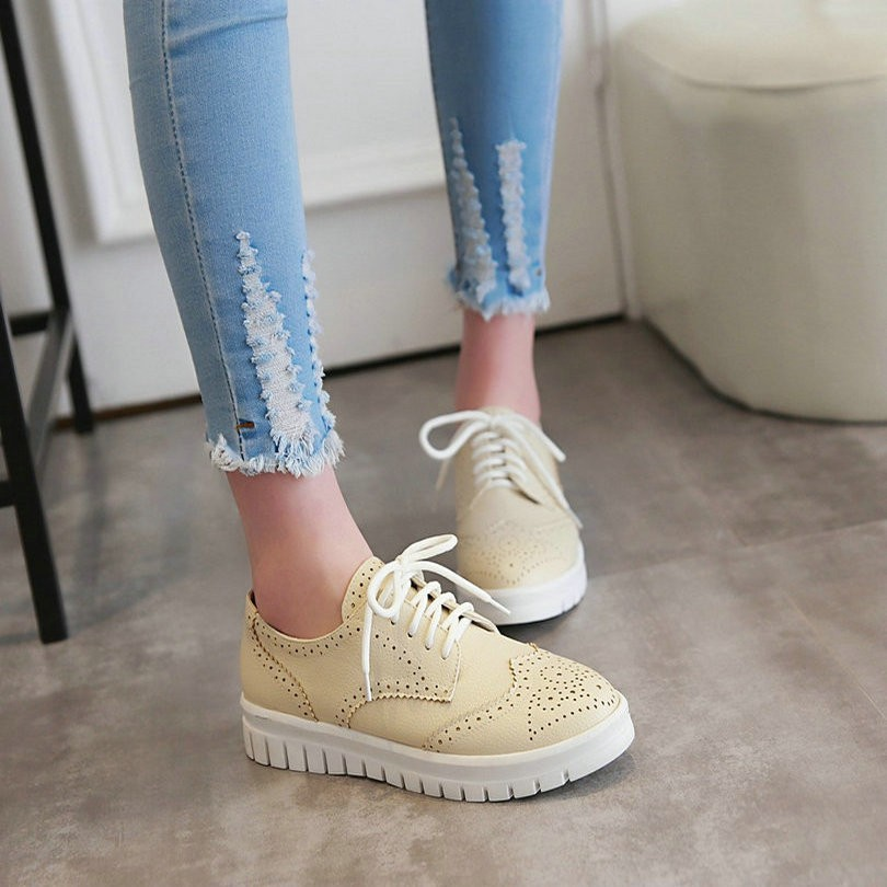 All Match Size 34-43  Lace Up Pu Soft Leather Spring/Autumn Lace Solid Platform Round Toe Women Pumps Lady Casual Shoe <br><br>Aliexpress