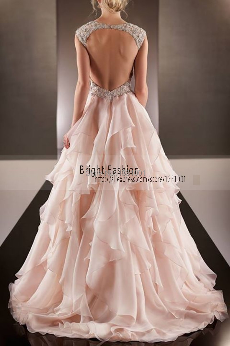 Blush wedding dreses sexy sweetheart wedding dress pink for Backless wedding dresses designer