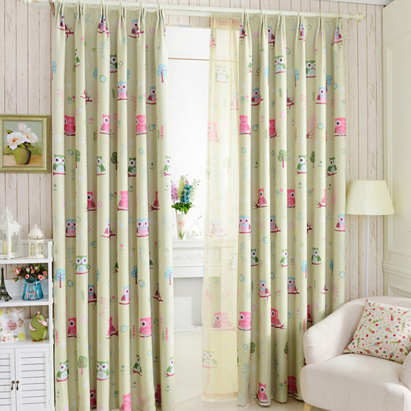2015 cartoon owl shade blinds finished window blackout for Kid curtains window treatments