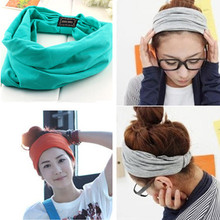 2015 New variety of wear method Cotton Elastic Sports Headbands Wide Headband HB054(China (Mainland))