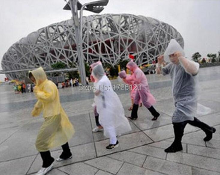 1X Unisex Disposable Raincoat Adult Emergency Waterproof Hood Poncho Travel Camping Must Rain Coat Free Ship(China (Mainland))
