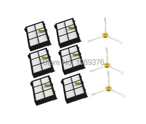 Free Post Shipping New 6 x Hepa filters + 3 armed side brushes kit For iRobot Roomba 800 series 880 870(China (Mainland))