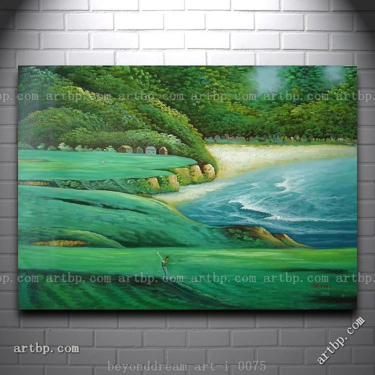 Playing Golf On Green Site Oil Painting Impressionism Seascape Hotel Western Huge Picture Painting Free Shipping Hand-Pai(China (Mainland))