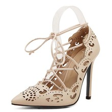 Plus Size Shoes Women Strappy Heels Pumps 2015 Sexy Cut-Outs Women Shoes Lace Up High Heels Ladies Pointed Toe Pumps Dress Shoes(China (Mainland))