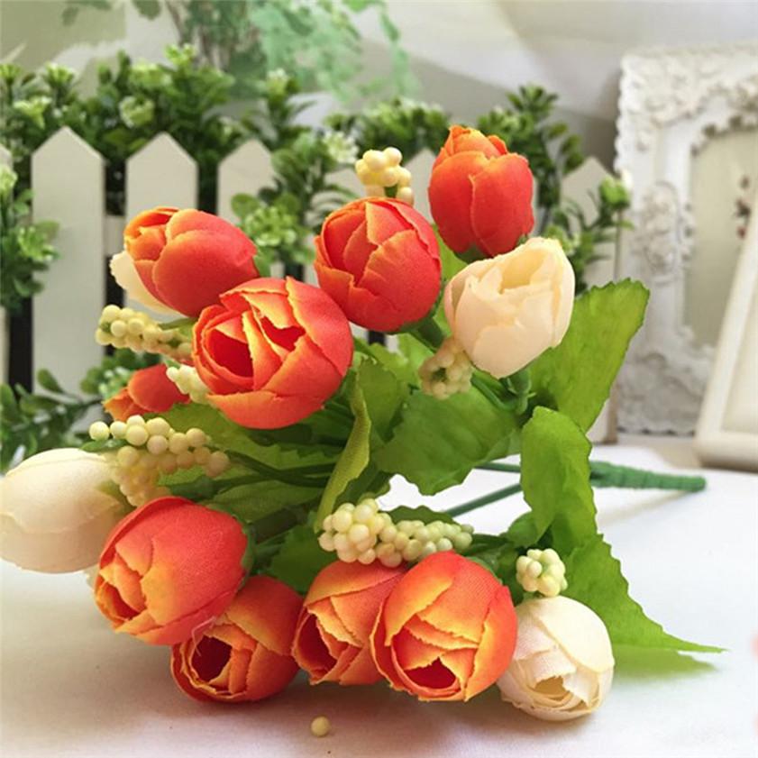 Zero 15 Heads Unusual Artificial Rose Silk Fake Flower Leaf Home Decor Bridal Bouquet(China (Mainland))