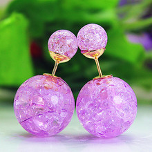 2015 new fashion brand jewery elegant double imitation pearl stud earrings for women cute opal beads earrings for gift(China (Mainland))