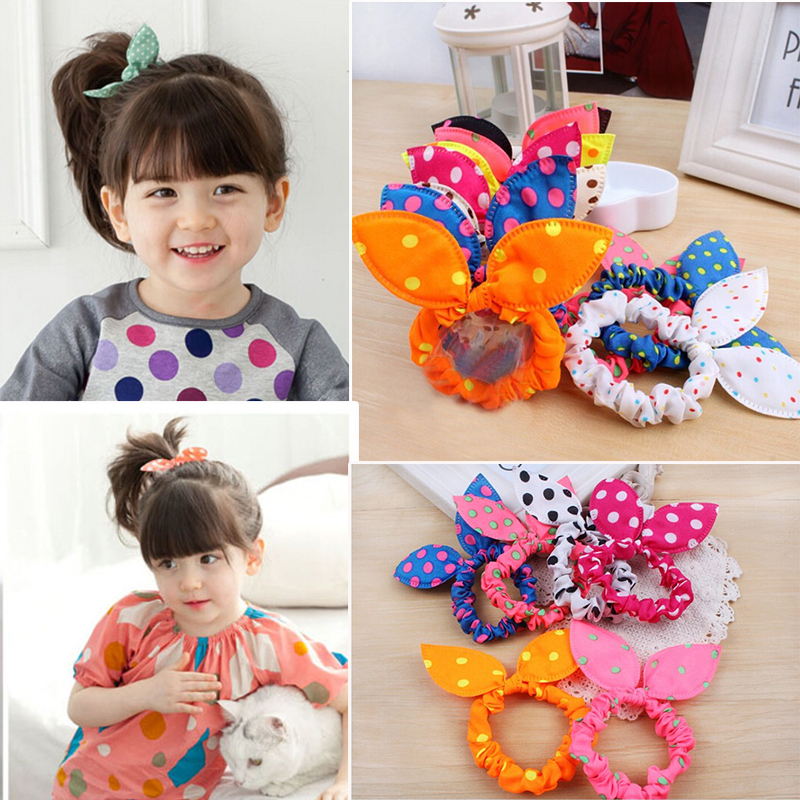 Free Shippiong 10 Pcs/lot Cute Bunny Baby Girl Flower Hair Clip Headbands Rabbit Ears Dot Headwear Elastic Hair Band Hair Rope(China (Mainland))