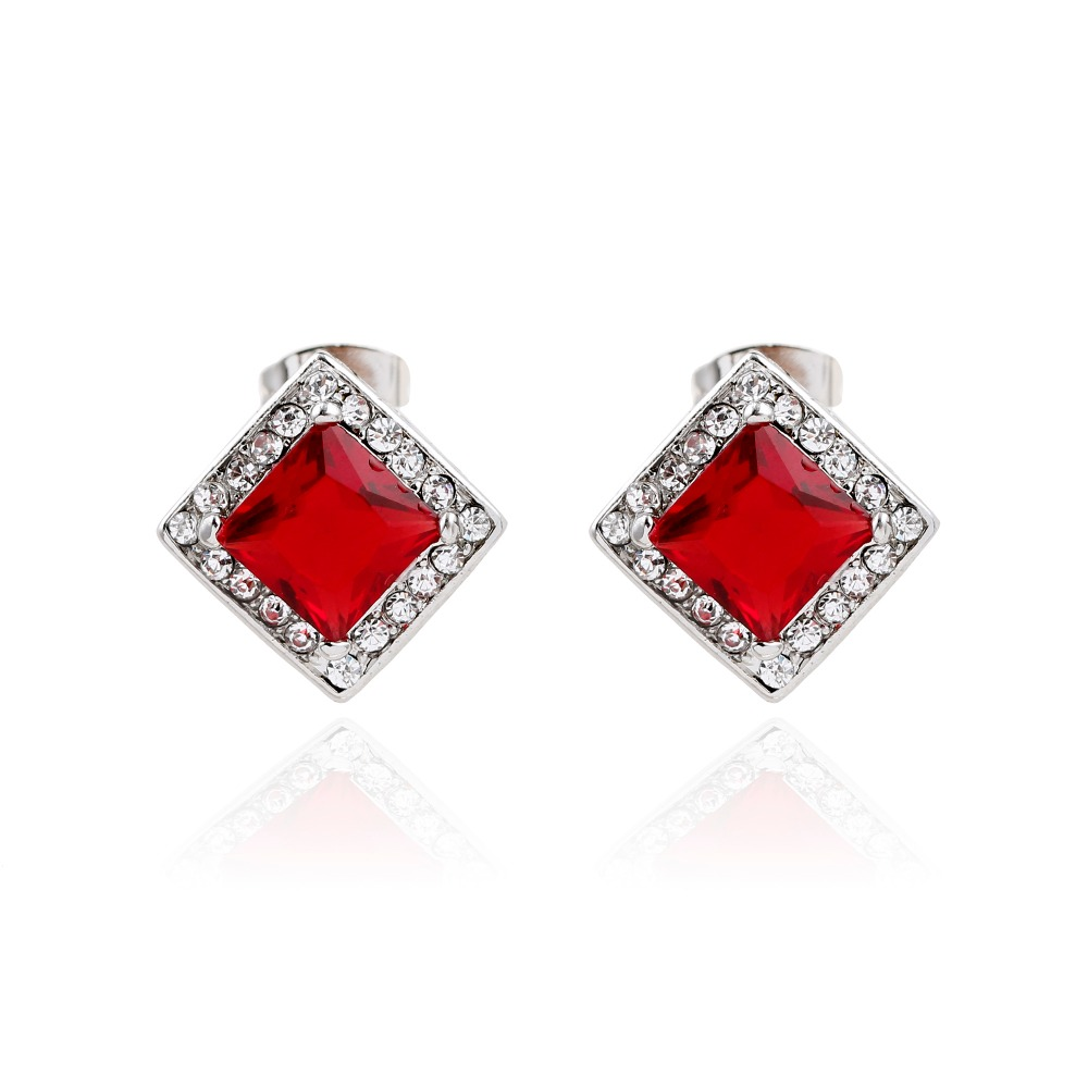 Alli express New Austria Crystal Stud Earrings For Women Elegance bijoux femme Red Stone Block Pure Crystal Earrings Earrings(China (Mainland))