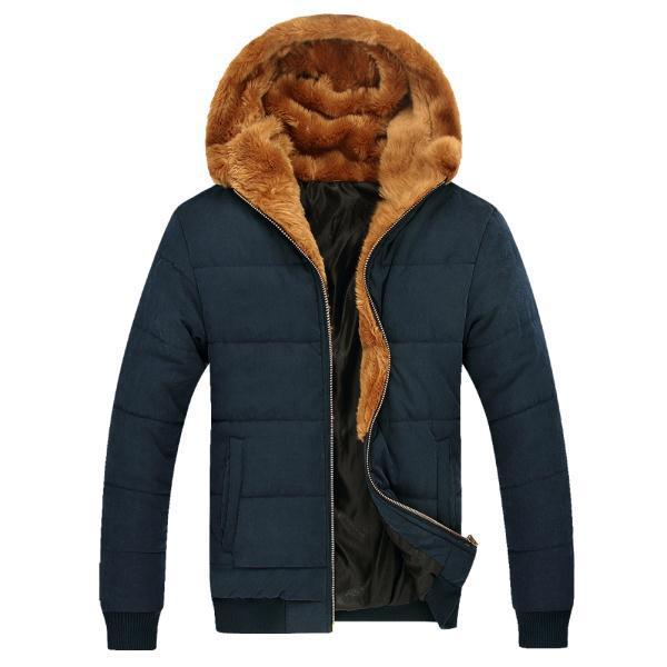 Russian Winter Men Thick Fur Coats 2014 Male Warm Outerwear Big Size M-3XL Zipper Fly Man Ourdoor Hooded Parka Khaki / Blue