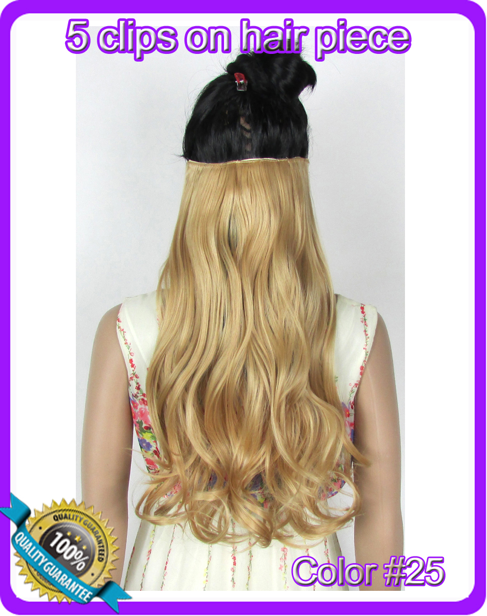 """24""""(60cm) 120g body wave clip in hair extensions hairpiece hair pieces accessories color #25 Golden Blonde(China (Mainland))"""
