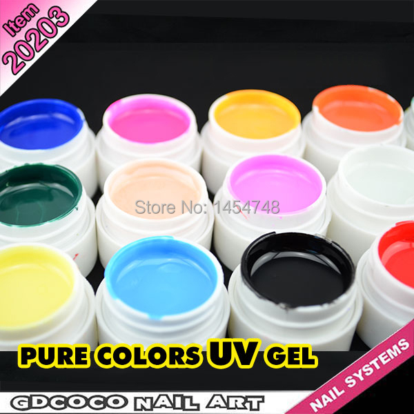 New 30 Pcs Mix Pure Color Nail Art UV Builder Gel Set for Acrylic False Tips