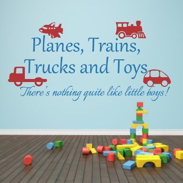 Playroom Decal Planes, Trains, Trucks and Toys Boy Wall Sticker Playroom Wall Decal Baby Boy Nursery Decor 73cm x37cm(China (Mainland))
