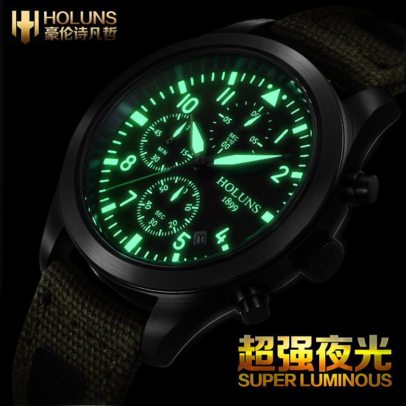 Genuine HOLUNS Swiss Watches Luminous Waterproof Military Men's Multi-purpose Chronograph Sports Fashion Quartz Watch Male Table(China (Mainland))