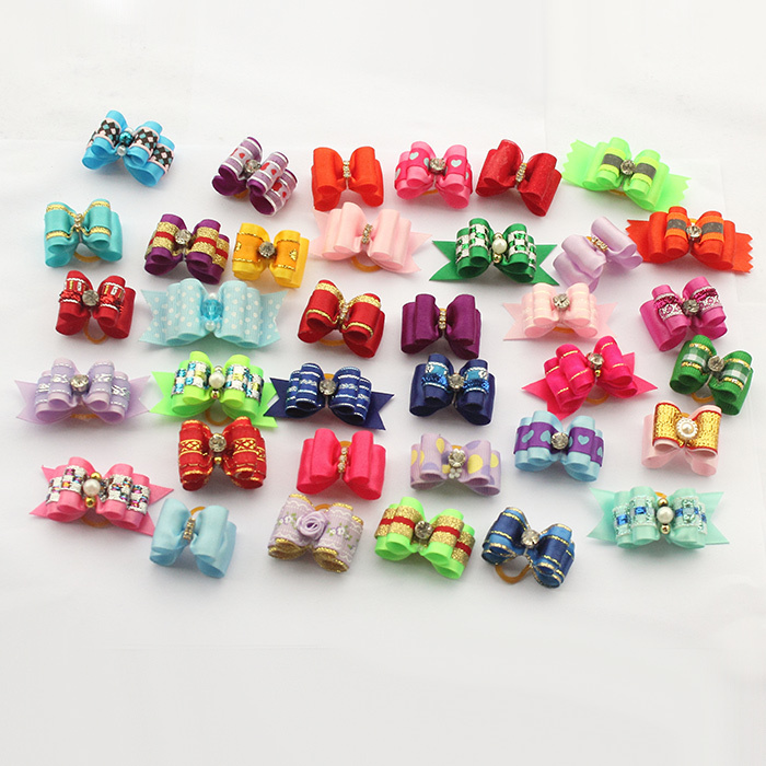 100 Pcs!! Armi store Handmade Dog Bow Dogs Hair Bows 11002 Pet Hairs Accessories Grooming Products Cute Gift Mix Style