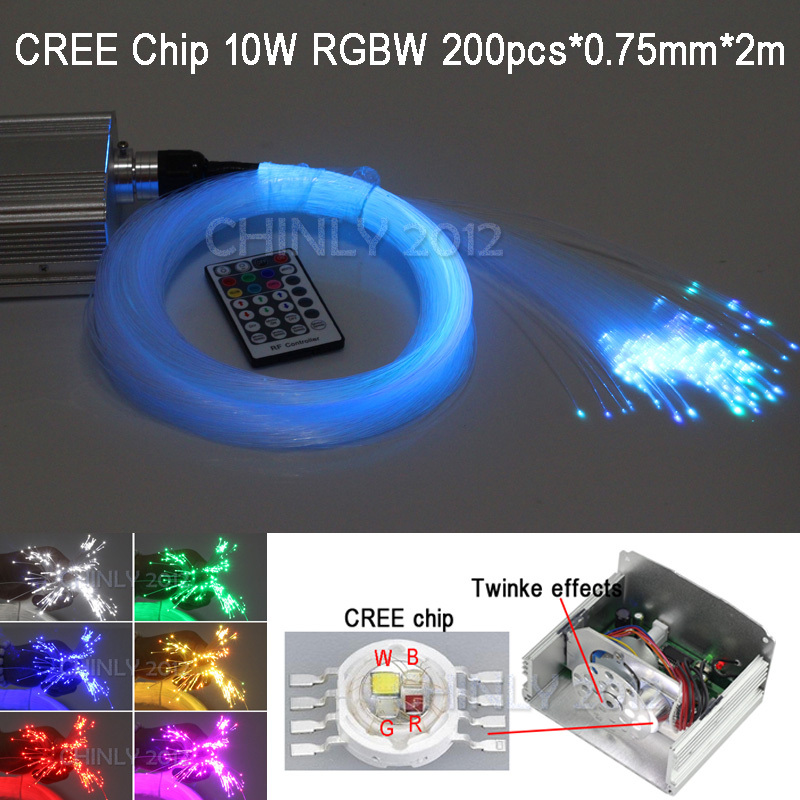 LED Fiber Optic Star Ceiling Lights Kit 200pcs 0 75mm 2M Optical Fiber 10W RG