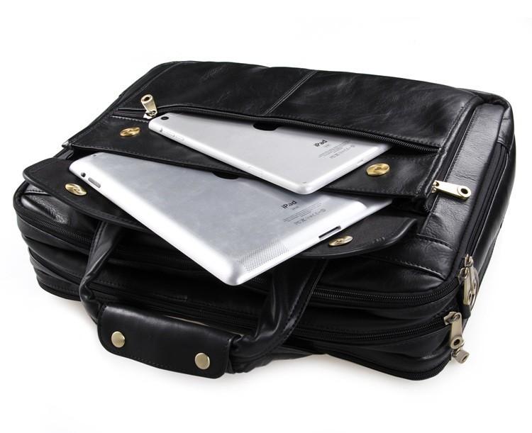 """ซื้อ ความจุขนาดใหญ่15.6"""" แล็ปท็อปกระเป๋าเอกสารหนังแท้สีดำผู้ชายmessengerถุงผลงานหนังวัวผู้ชายกระเป๋าเดินทาง#vp- j7146"""