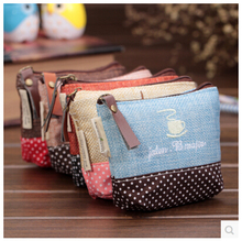 New Cute Canvas Girls Mini Coin Purses Brand Retro Simple Vogue Classic Coin Wallet Case With Zipper(China (Mainland))