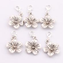 11pcs 19.5×36.2mm Antique silver Tropical Plumeria Flower Lobster Claw Clasp Charm Beads Jewelry DIY C327