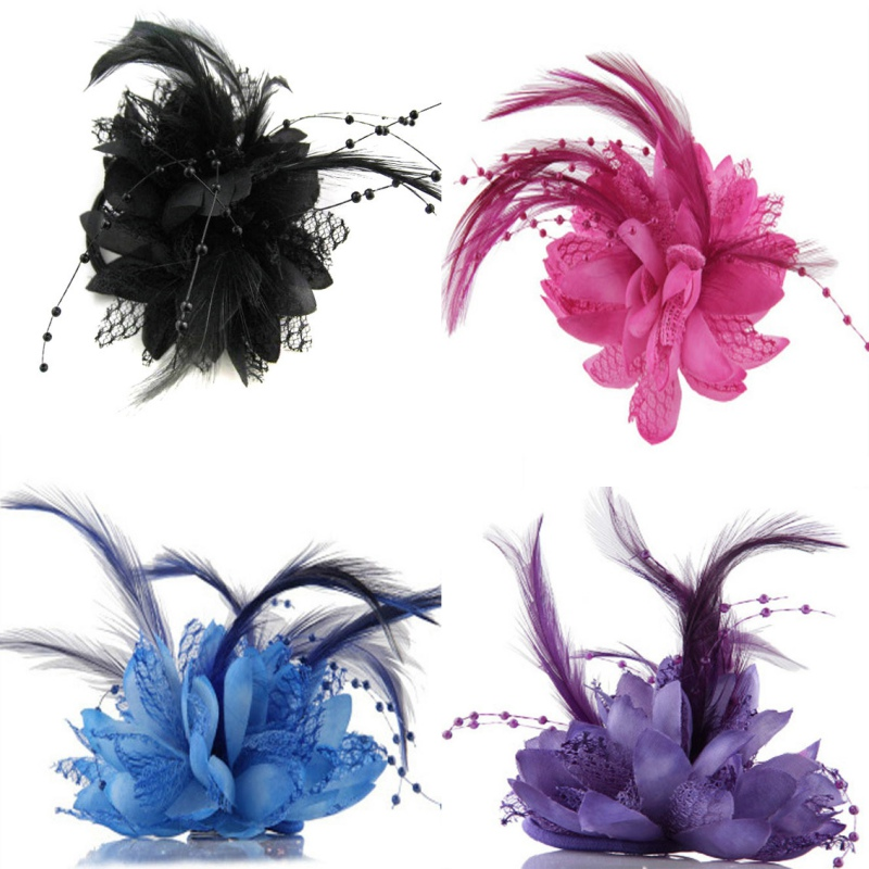 Hot Women Ladies Flower Feather Bead Corsage Hair Clips Fascinator Bridal Hairband Brooch Pin LY6(China (Mainland))