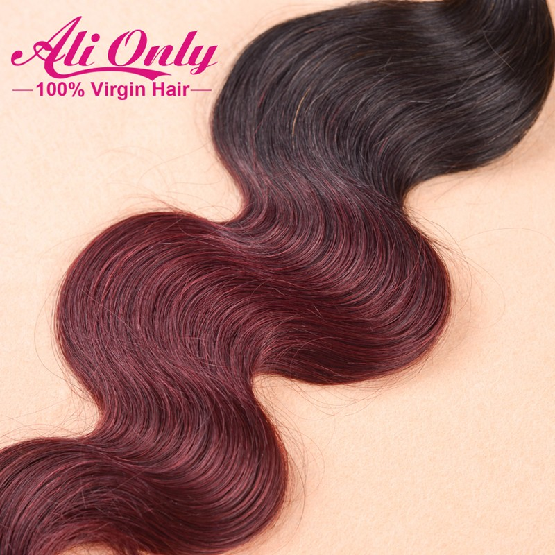 6A Ombre Hair Extensions Cheap Brazilian Body Wave 1b/Burgundy 3Pcs Unprocessed Ombre Brazilian Hair 12-26Inch Remy Human Hair