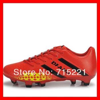 2014 free shipping artificial nail design men boots synthetic red indoor soccer balls football soccer shoes