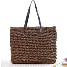 Bolsa feminina verão praia saco rattan tecido artesanal de malha palha grande capacidade totes couro bolsa ombro bohemia novo(China)
