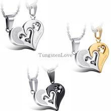 Fashion Korean Pendant Necklaces Engrave I Love You Matching Hearts CZ Crystal Couple Necklace Set 316L Stainless Steel 1 pair(China (Mainland))