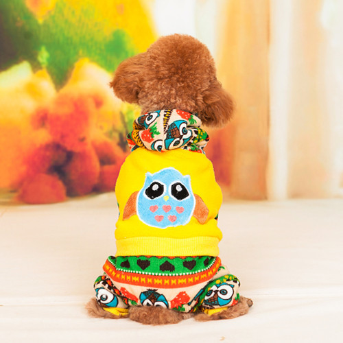 lovely Owl Soft Dog Clothes for Pet Dog Shirt Jumpsuit Free Shipping Apparel pink&yellow(China (Mainland))