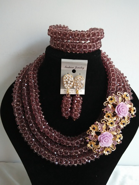 2015 Luxury  Nigerian African Wedding Beads Jewelry Set Crystal Dark Purple Women Necklace Set Free Shipping ABE1514<br><br>Aliexpress