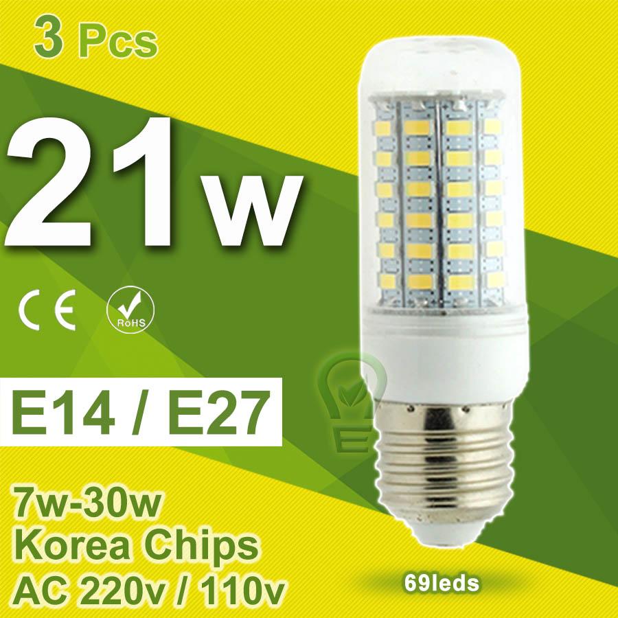 Гаджет  3pcs/Lot Samsung 5730 SMD LED Corn Light LED Bulb E27 E14 7W~30W Bulbs LED Lamp 110V 220V Chandelier Candle Spot Lampada De LED None Свет и освещение