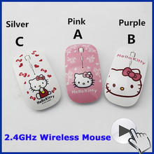 2.4Ghz Ultra Thin Slim Women Wireless Optical Mouse Sem Fio Mini Pink Hello Kitty Mice Gaming Gamer Mause For Computer Desktop(China (Mainland))