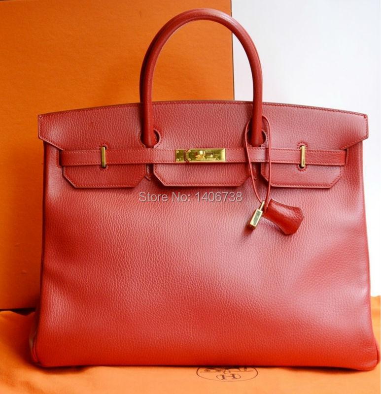 Classic Top Quality Original Leather hand stitching Red Ardennes 40 cm shopper bag Fashion Women handbag Tote purse #A16DA40(China (Mainland))