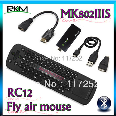 Rikomagic Bluetooth MK802IIIS RAM 1GB ROM 8GB Android 4.4.2 TV BOX Wifi DUAL CORE Android TV BOX MINI PC +Fly air mouse RC12(China (Mainland))