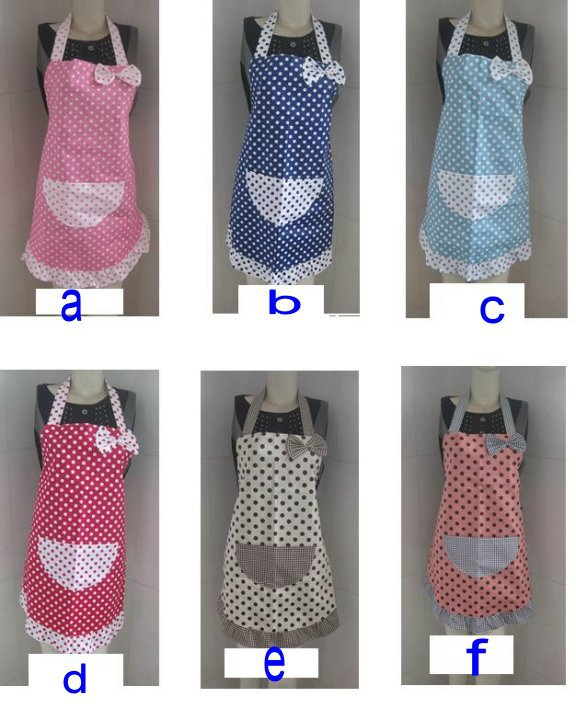 Wholesale - Multi colors Cute adult size (ladies/teenager girls ) Polka Cotton kitchen Apron(China (Mainland))