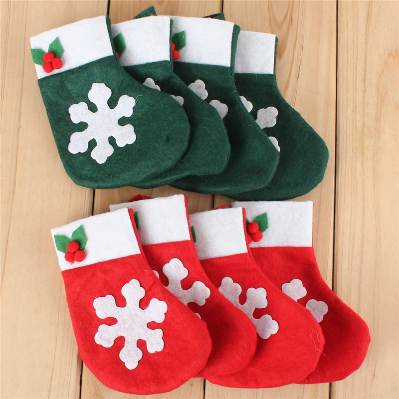 10.New Stylish Hot Sale 4pcs Christmas Snowflake Stockings Silverware Cutlery Dinner Party Table Decor Christmas Gifts Bag(China (Mainland))