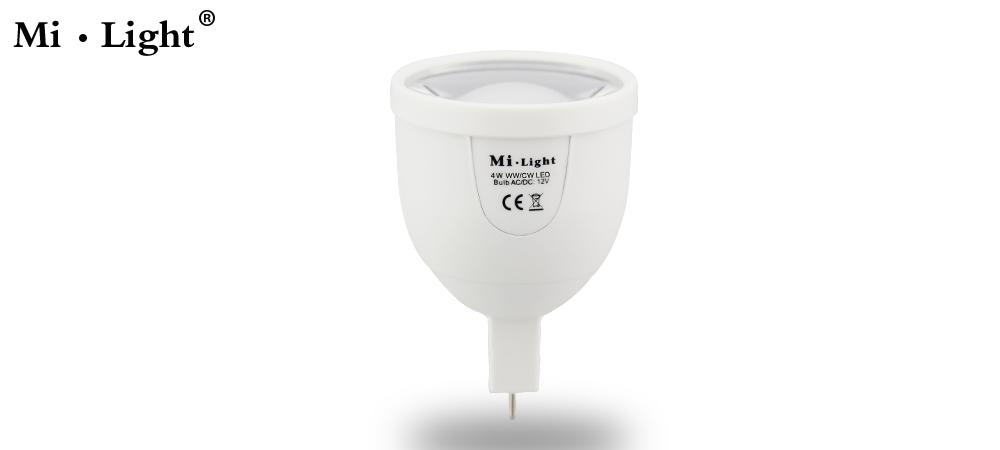 [Seven neon]2pcs Fashion design Mi-Light AC85-265V MR16 4W 220LM W/WW 5730 LED chip color temperature Dimmable LED Bulb(China (Mainland))