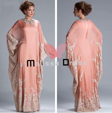 Custom Made Hot Sale Floor Length Chiffon 2PC/set Lace Appliqued Dubai Kaftan 2014 Evening Dresses with Long Sleeve(China (Mainland))