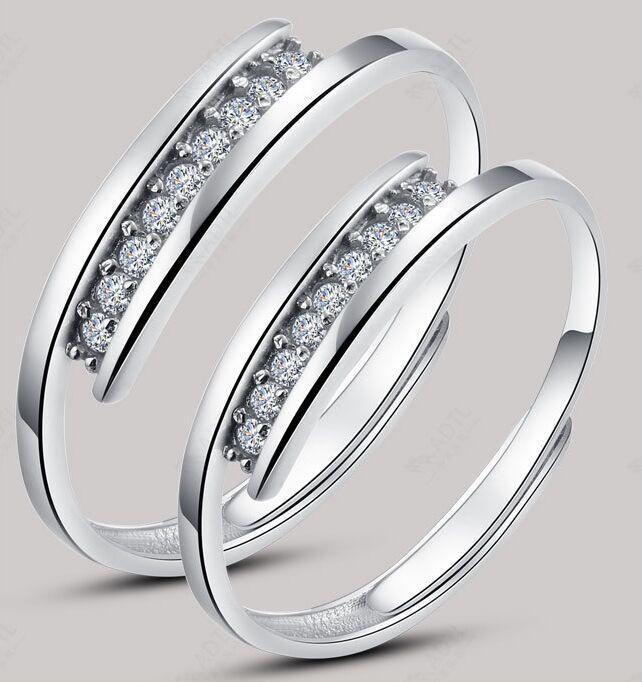 Korean version crystal Hearts and Arrows 925 sterling silver nail love forever wedding ring(China (Mainland))