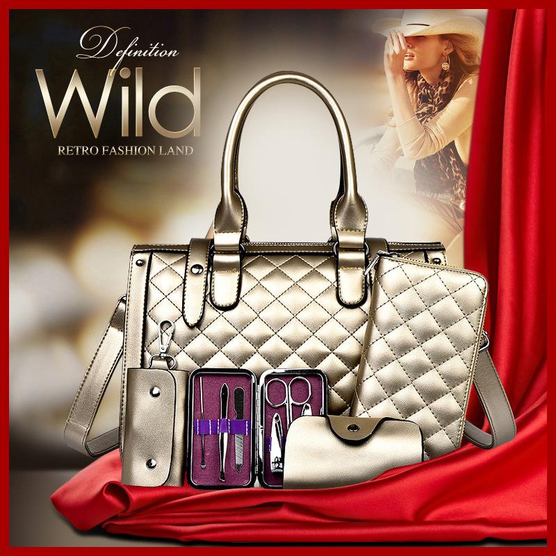 5 PCS/Set Women Bag Crocodile Pattern Composite Bag Stone Women Messenger Bags Shoulder Handbag Purse Wallet PU Leather Handbags(China (Mainland))