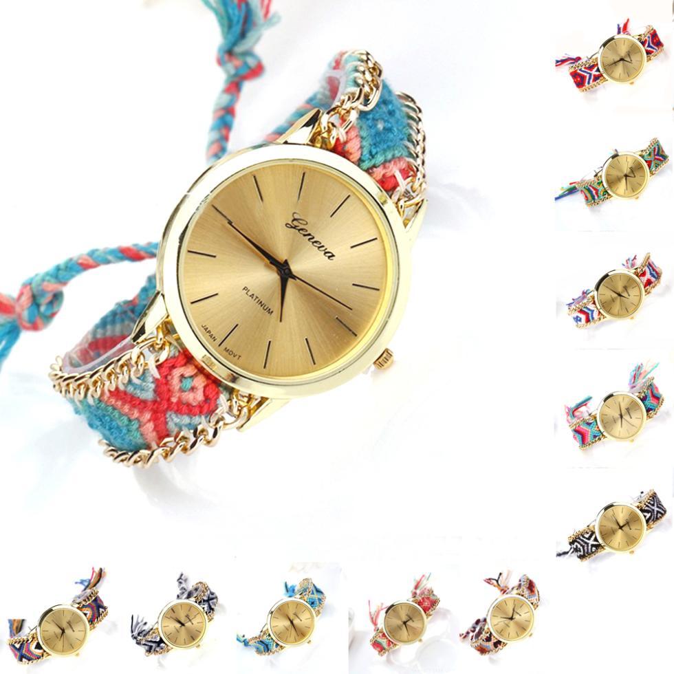 Girls Women Geneva Handmade Knitting Rope Chain Belt Round Dial Analog Quartz Bracelet Wrist Watch(China (Mainland))