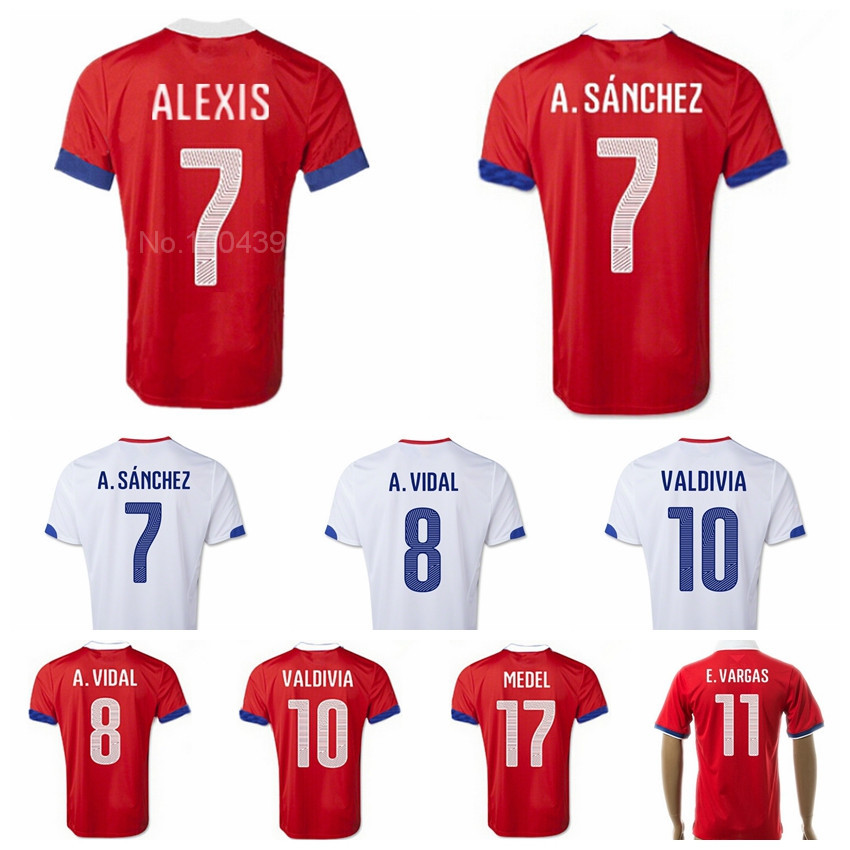 Chile Jerseys Soccer 7 Alexis Sanchez Football Shirt 8 Vidal 9 SUAZO 10 Valdivia 11 Vargas MEDEL Camisas de futebol Custom Name(China (Mainland))