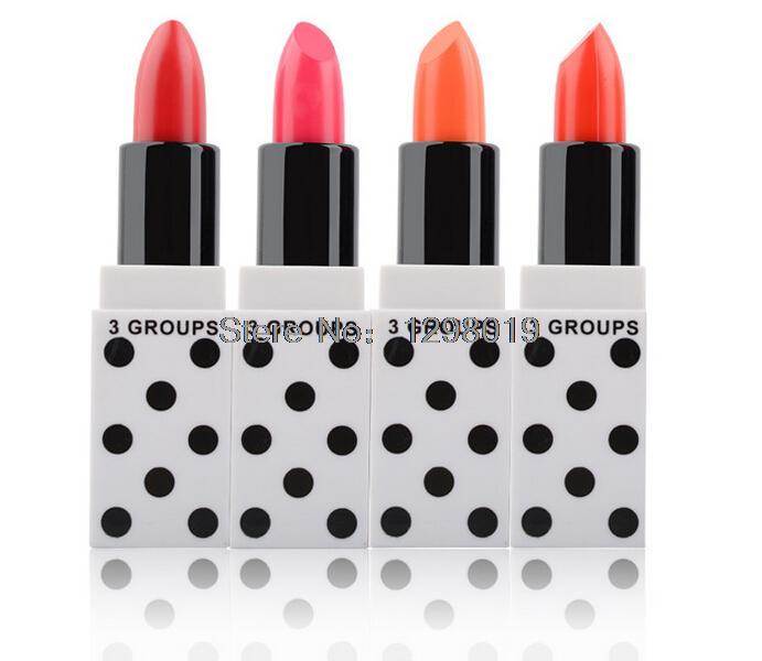 2015 new 4 Pieces white dots pink moist lipstick lipstick moisturizing makeup Lip Gloss Long waterproof think you(China (Mainland))
