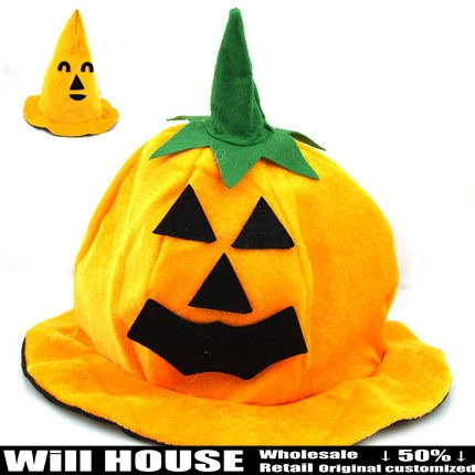 New kids children's toy pumpkin cap hat masquerade birthday gifts halloween party suppliers props(China (Mainland))
