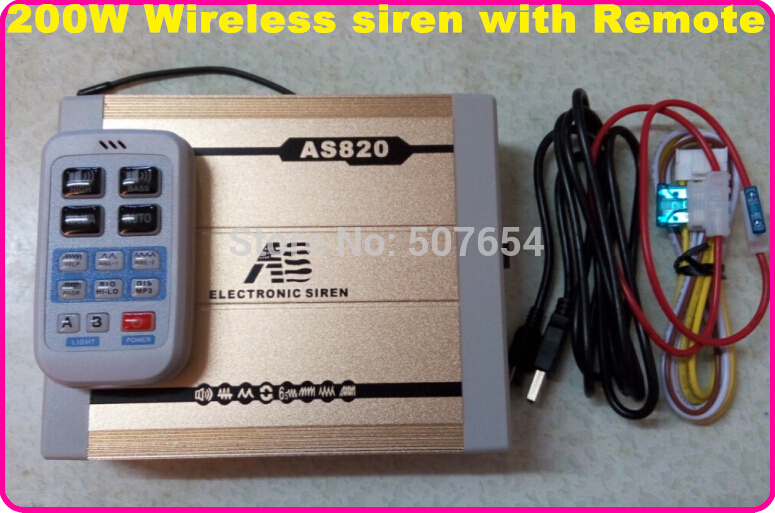 America design Wireless 200W 11tons Police siren alarm ambulance fire warning siren with Remote(not include speaker)(China (Mainland))
