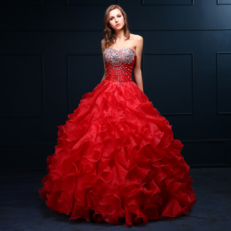 Wedding Dress With Red Corset : Elegant crystal organza red wedding dress corset ball
