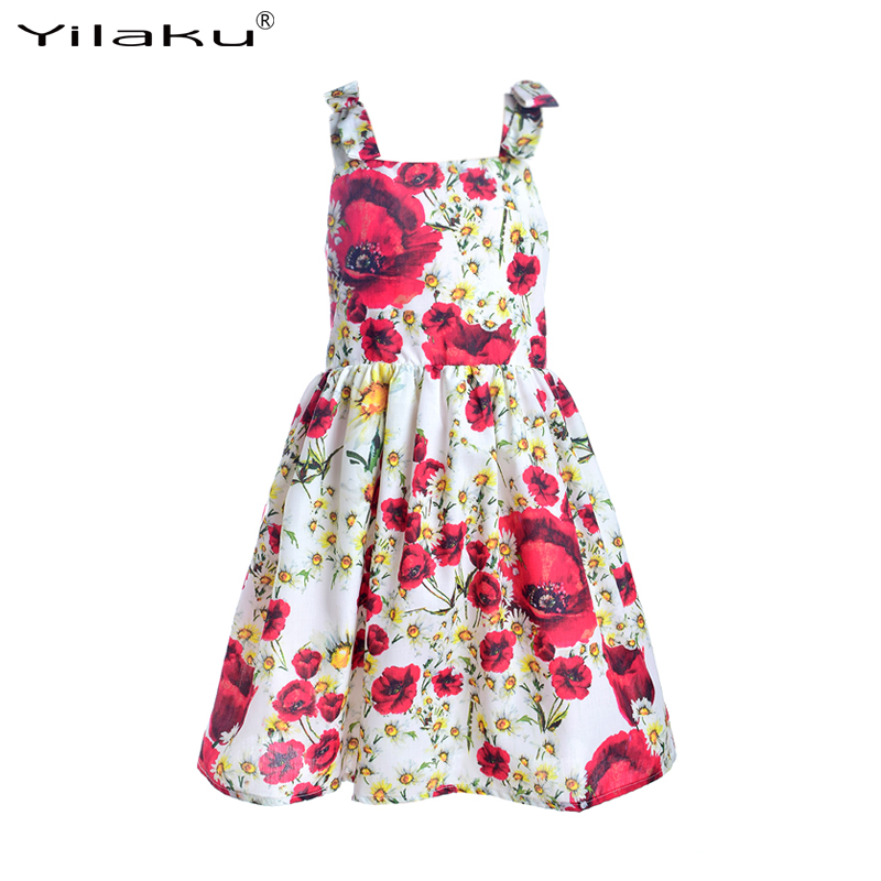 Girls Dress Princess Costume 2016 Brand Kids Dresses for Girls Clothes Poppy Floral Baby Girl Dress Children Clothing Summer(China (Mainland))
