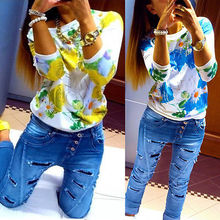 2016 O-neck Fashion Women's Floral Print Pattern women flower blouse Casual Puff 3/4 Sleeve Tops Blause Flower Blouse Women