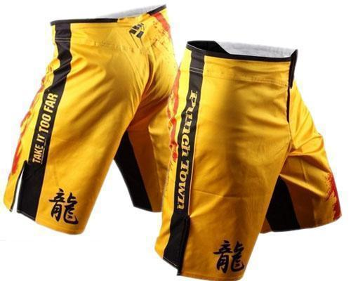 MMA SHORTS PunchTown Frakas eX The Dead Shorts - Yellow Dragon MMA FIGHT SHORTS EUR SIZE M/L/XL/2XL/3XL(China (Mainland))